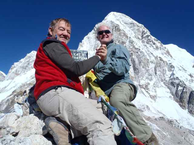 Willie and Kent on the summit of Kala Patthar, Mount Pumori in the background