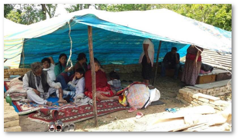Neera Sherpa's family taking refuge in Kathmandu under a tarpaulin
