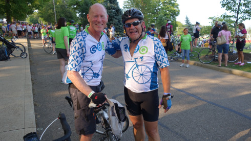 With my friend Wade Kosich at the 2014 Pelotonia finish line.