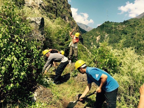 Work has started to rebuild the trail to Nakchung  - the first of our projects in the remote Himalaya.
