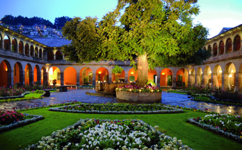 Hotel Monastero Main Courtyard Gardens at night