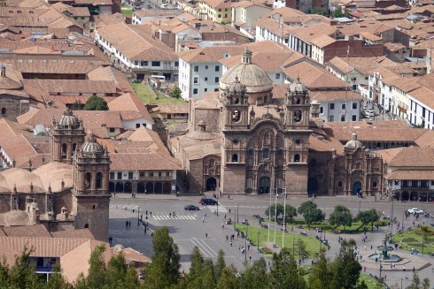 A view of the Paza de Armas in Cusco from the Saqsawayan hill