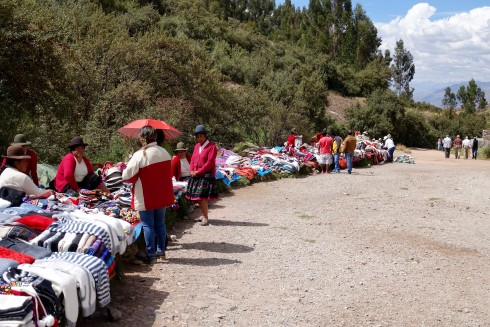 The locals were displaying their many colorful wares for purchase along the path.