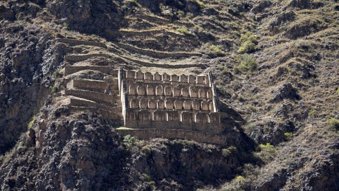 The Face of Wiracocha and the Storehouses above the Town of Ollantaytambo
