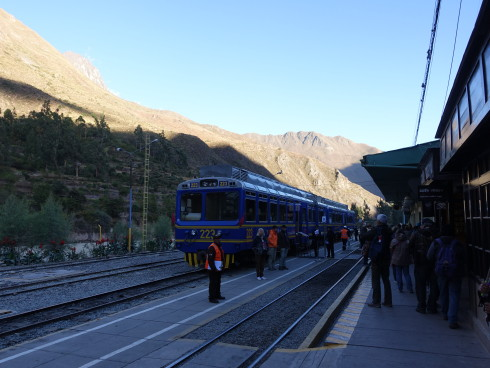 Boarding the train for Kilometer 104, the Inca Trail trailhead