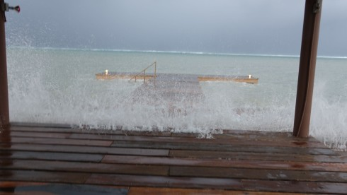 Waves beginning to cover our dock