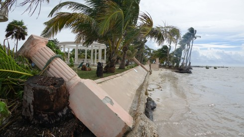 A section of sea wall on the way to Coco Beach